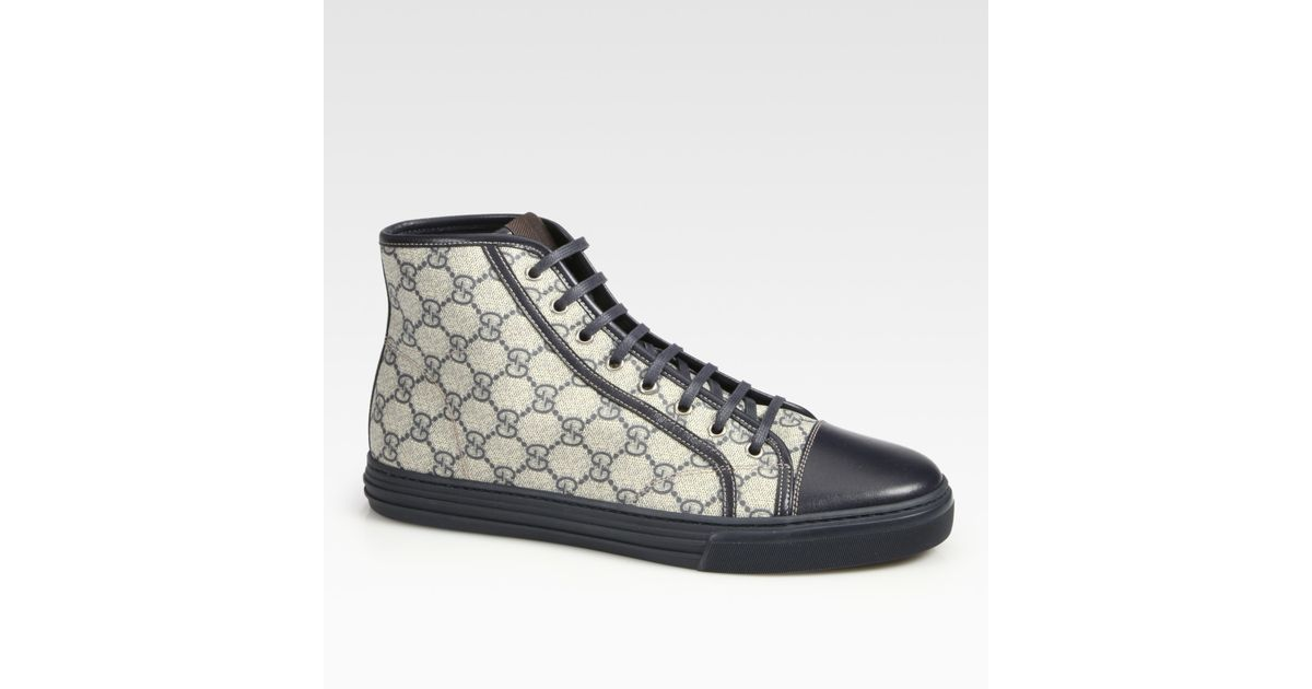 e4275fe706a7 Gucci - Blue California High-Top Lace-Up Sneakers for Men - Lyst