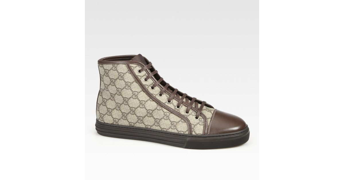 bd659ac999d Lyst - Gucci California High-Top Lace-Up Sneakers in Brown for Men