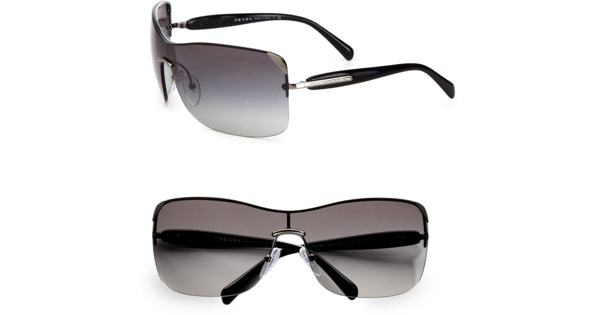 d183a5129ee ... where can i buy lyst prada rectangular rimless shield sunglasses in  gray f7832 3b351