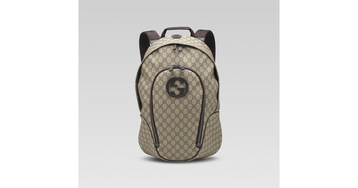 e5f16a79d77 Lyst - Gucci Interlocking G Backpack in Gray for Men
