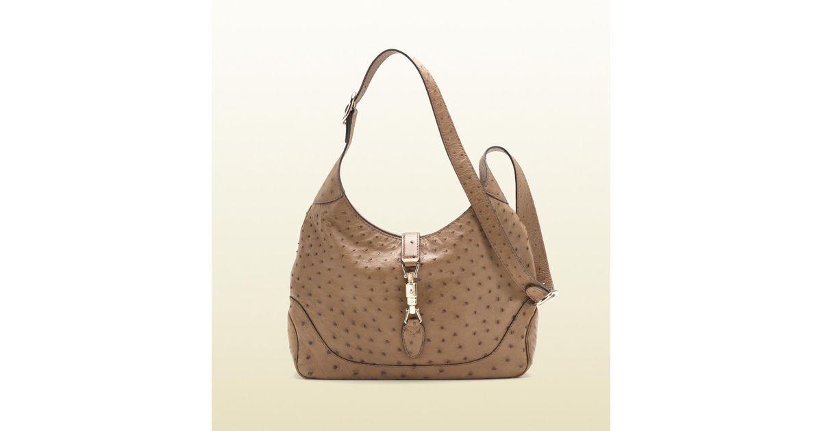d73c7e6082 Lyst - Gucci Jackie Beige Ostrich Shoulder Bag in Brown