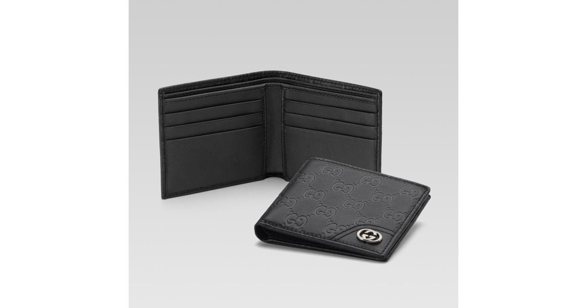 72bccb4715eb lyst gucci interlocking g bifold wallet in black for men ...