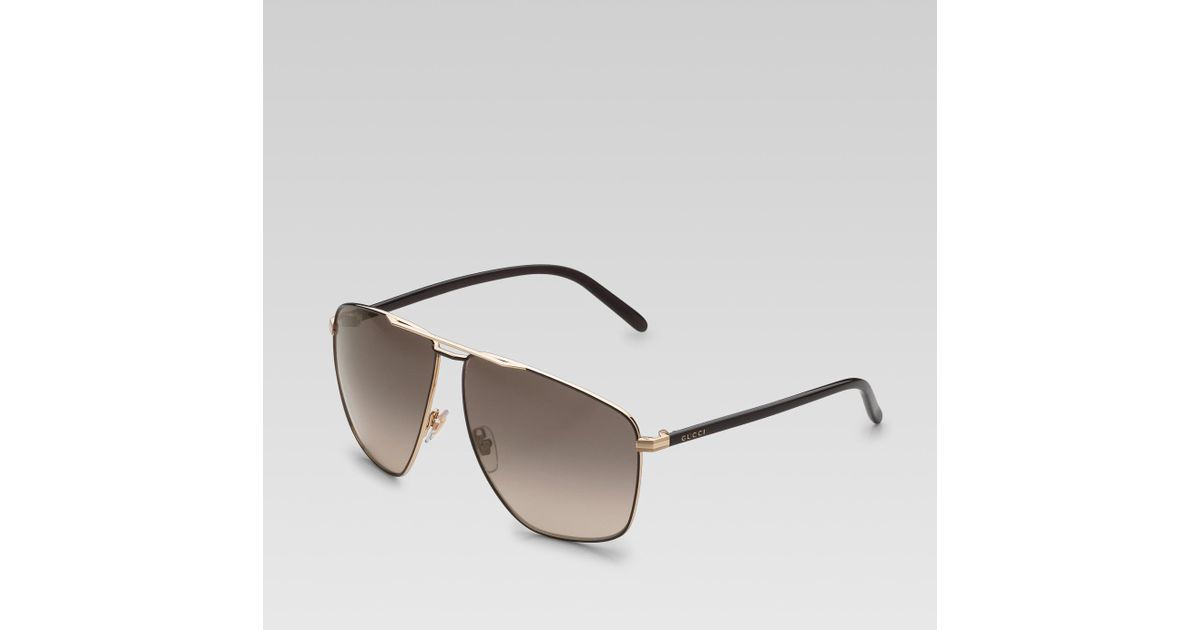 84826f417c3 Lyst - Gucci Medium Rectangle Frame Sunglasses with Gucci Logo On Temples in  Black for Men