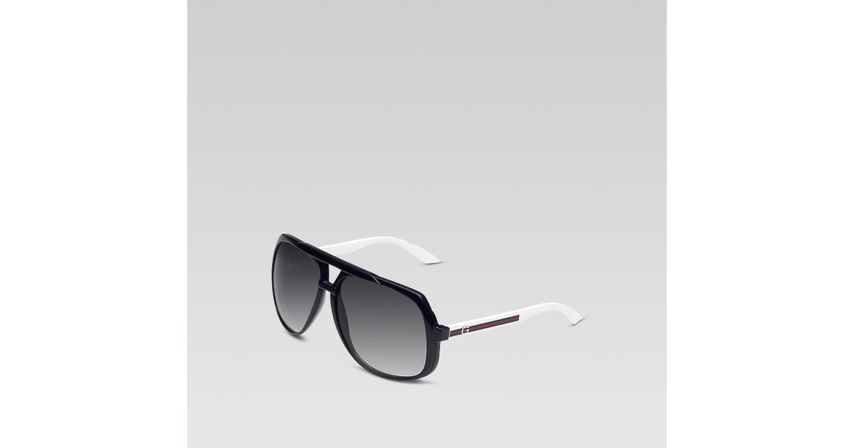b18fb1db323a Gucci Large Aviator Sunglasses in White for Men - Lyst