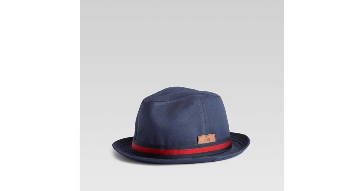 155c5ea19a692 Lyst - Gucci Trilby Hat with Embossed Gucci Trademark in Blue for Men