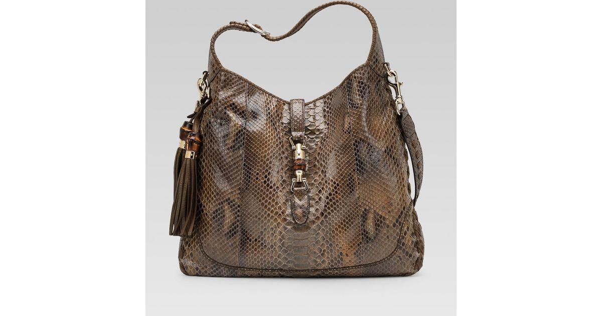 5c0dbd67a5d Lyst - Gucci New Jackie Smog Python Shoulder Bag in Brown