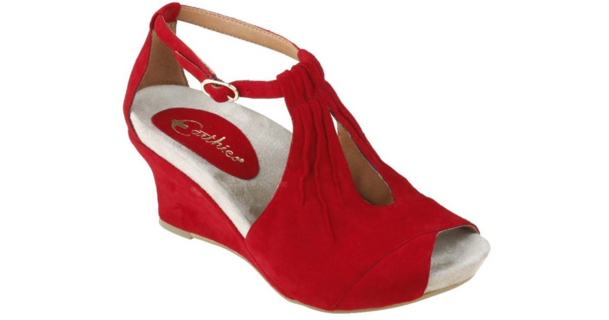 01943bd701a Lyst - Earthies Veria Too Wedge Sandals in Red