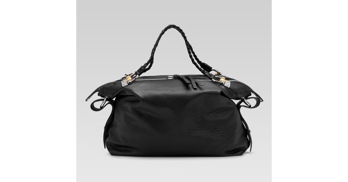 c0e11e58f4e14 Lyst - Gucci Bamboo Bar Large Shoulder Bag with Tassels and Bamboo Detail  in Black