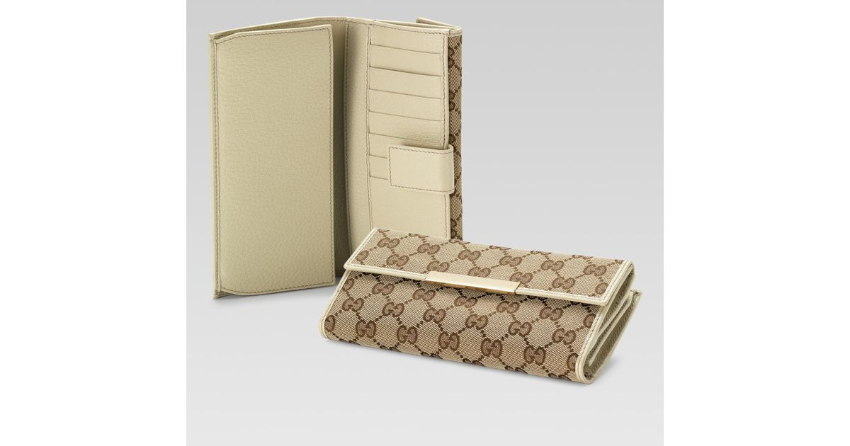 f4ee88720b2 Lyst - Gucci Continental Wallet with Gucci Trademark Engraved Metal Plate  in Natural