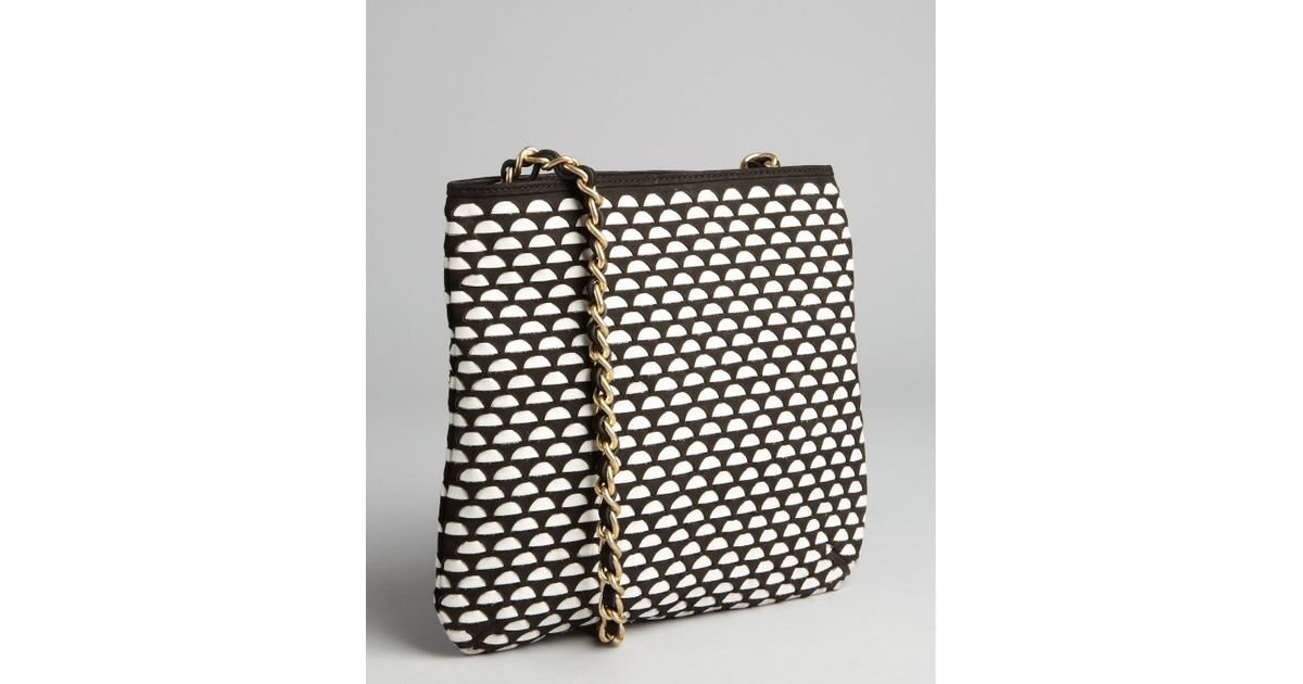 826ba5516539 Lyst - Pour La Victoire White and Black Woven Leather Milano Crossbody  Shoulder Bag in Black