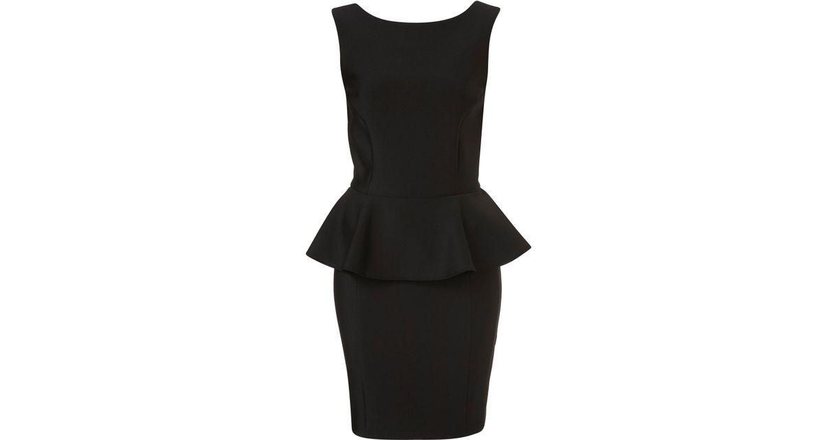Lyst Topshop Peplum Scuba Pencil Dress In Black