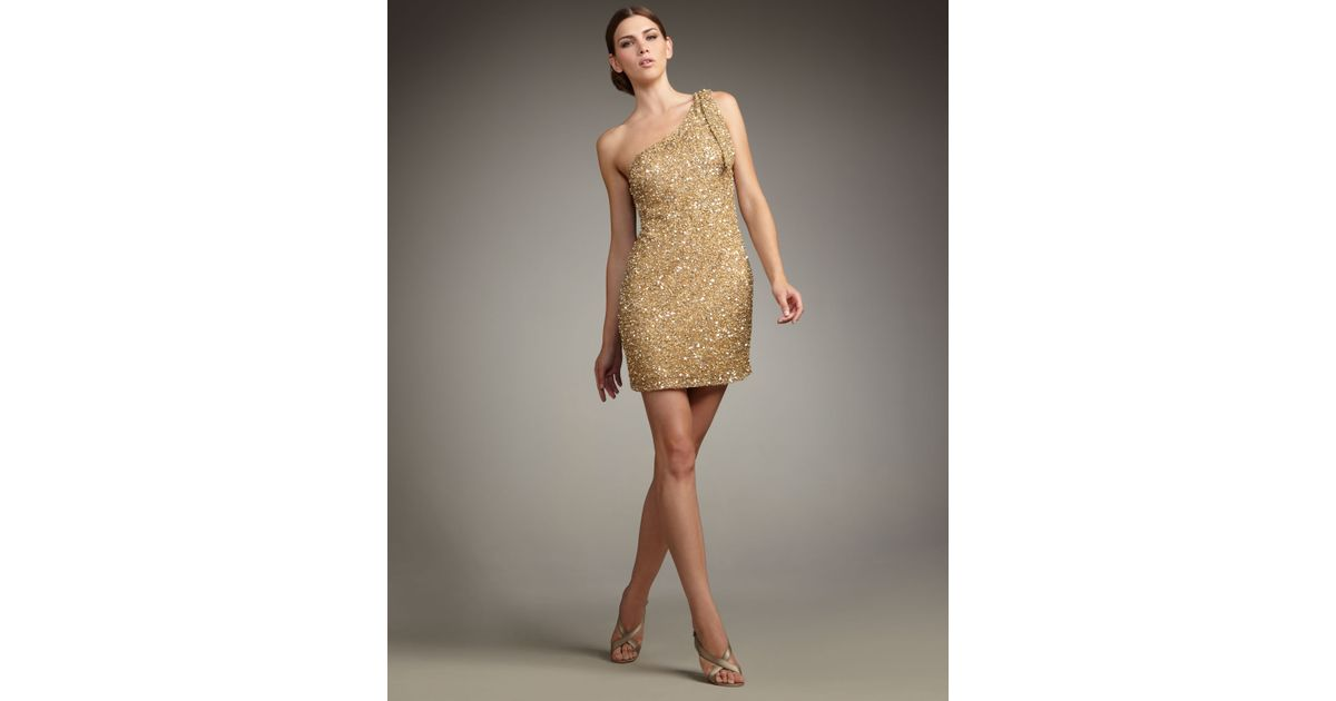 Aidan mattox One-shoulder Sequin Dress in Metallic  Lyst