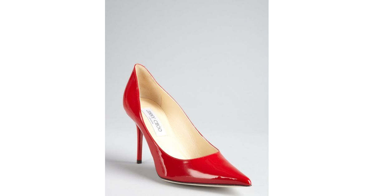 37938af6a54 Jimmy Choo Red Patent Leather Agnes Pointed Toe Pumps in Red - Lyst