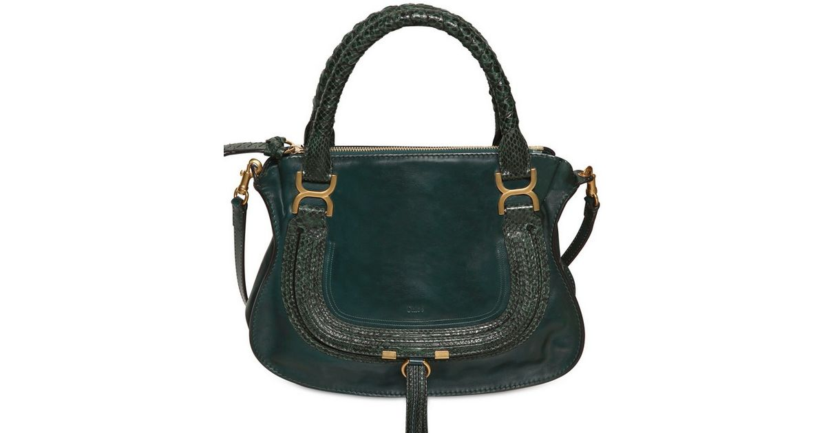 ad0d3d4a165 Lyst - Chloé Medium Marcie Leather Python Top Handle in Green