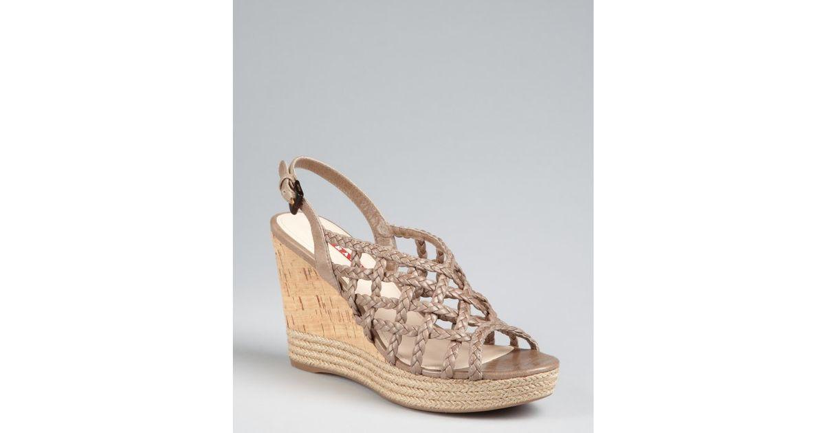 find great cheap price Prada Braided Wedge Sandals newest Mlka8cj