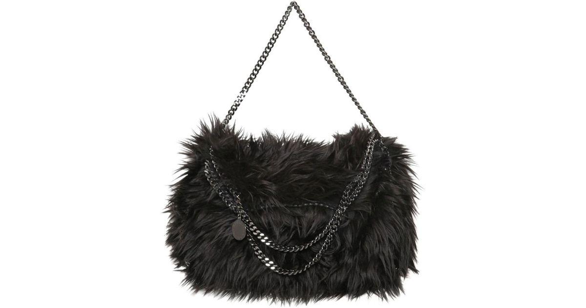 b3adaeb5ff1b Lyst - Stella McCartney Falabella Three Chain Faux Fur Bag in Black