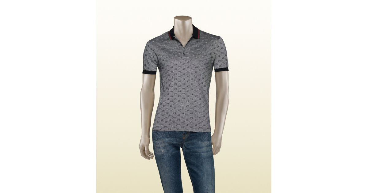 720be3a69 Gucci Piqué Gg Jacquard Short Sleeve Polo in Gray for Men - Lyst