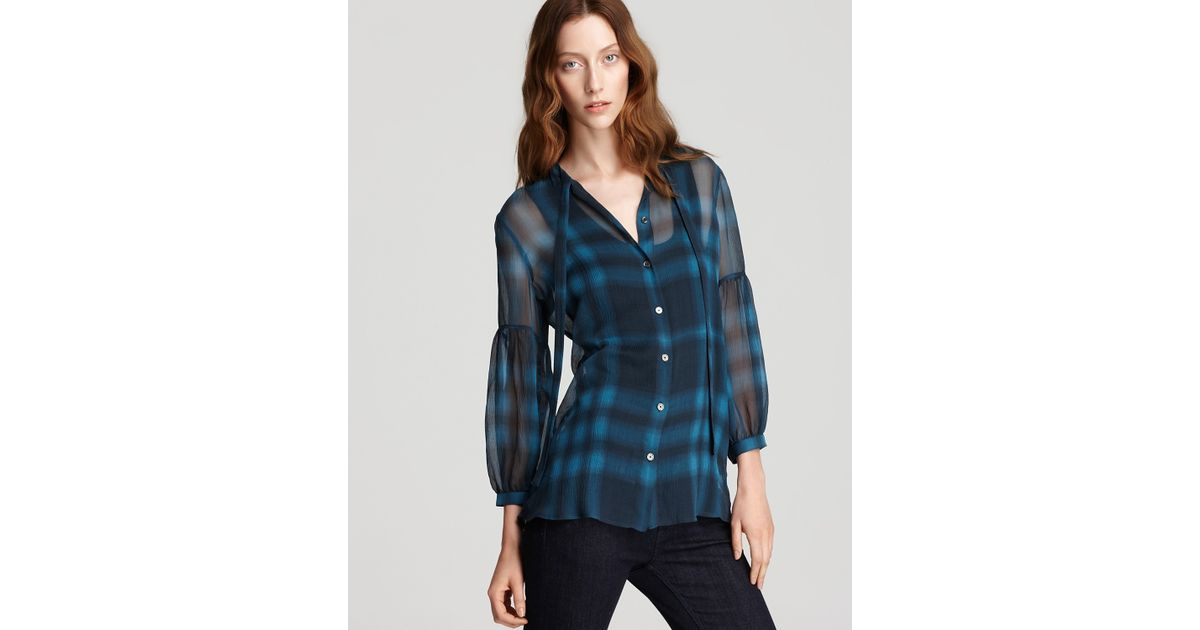 b85a0d1a5bb445 Lyst - Burberry Brit Ombre Silk Check Blouse in Blue
