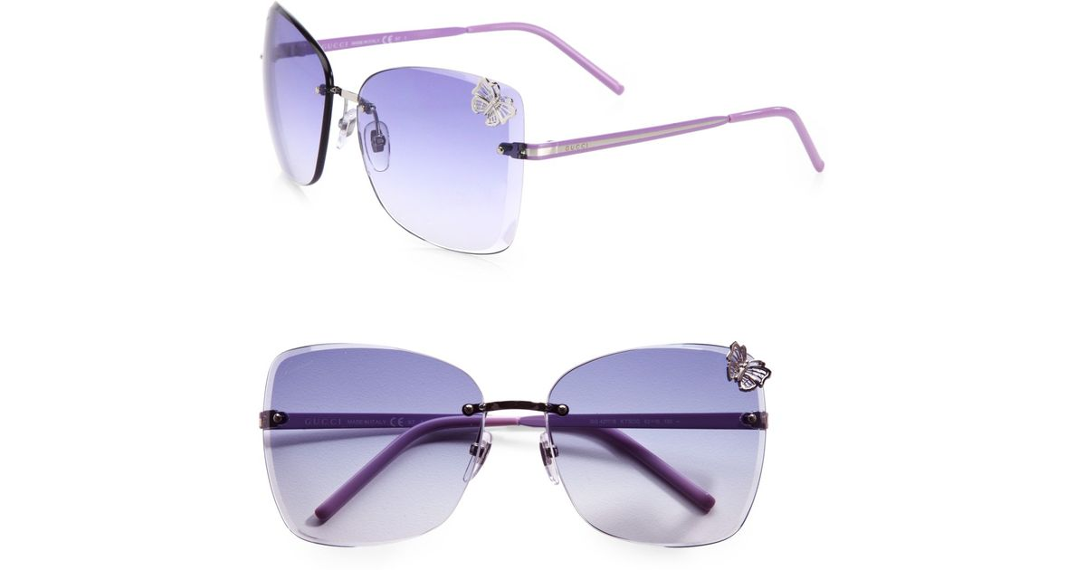 a4f828490b Lyst - Gucci Rimless Butterfly Sunglasses in Purple