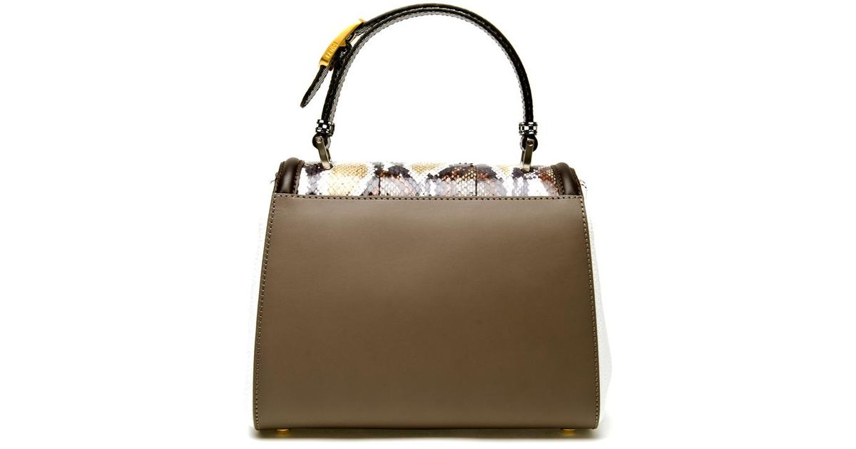 92c912d00fd3 Fendi Silvana Water Snakeskin and Leather Bag in White - Lyst