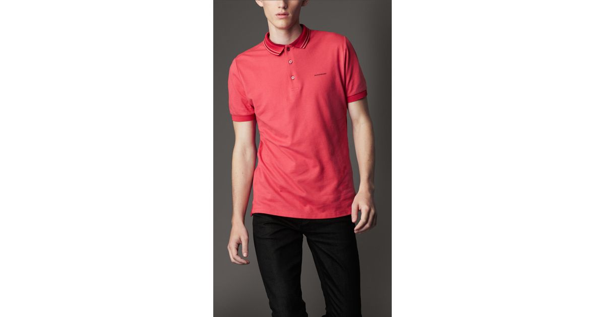 2003ad239 Lyst - Burberry Striped Collar Polo Shirt in Pink for Men