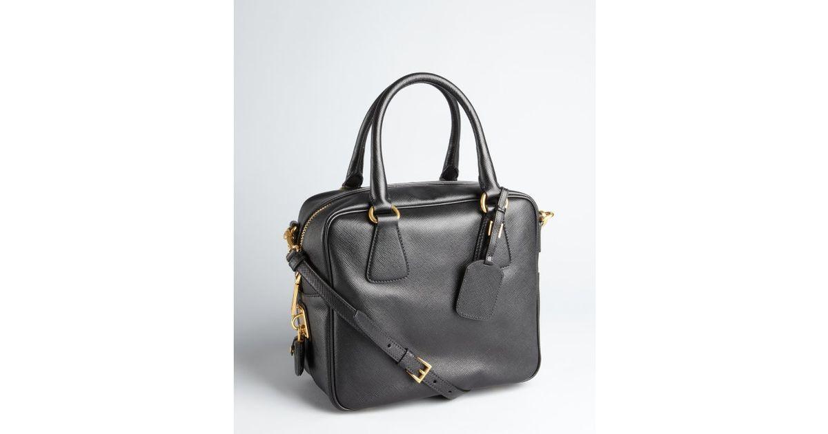 dda94af9a7 ... best price lyst prada black saffiano leather convertible top handle  bowler tote in black 597a4 26b90