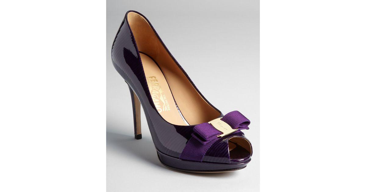 3e43f51a80c2 Lyst - Ferragamo Pumps Talia High Heel Peep Toe Platform in Purple