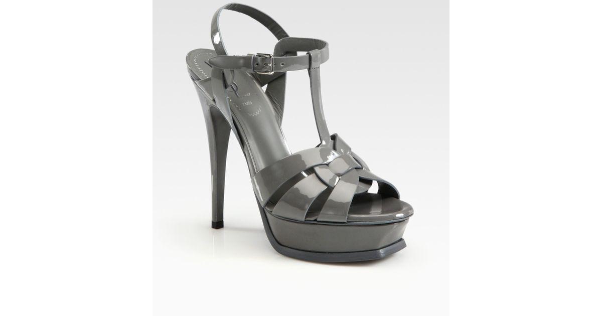 966cb04d6ea6b Lyst - Saint Laurent Ysl Tribute Patent Leather Platform Sandals in Gray