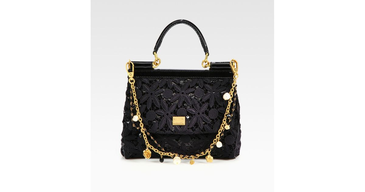 12c770df944e Lyst - Dolce   Gabbana Mini Miss Sicily Floral Lace Sequins Satchel in Black