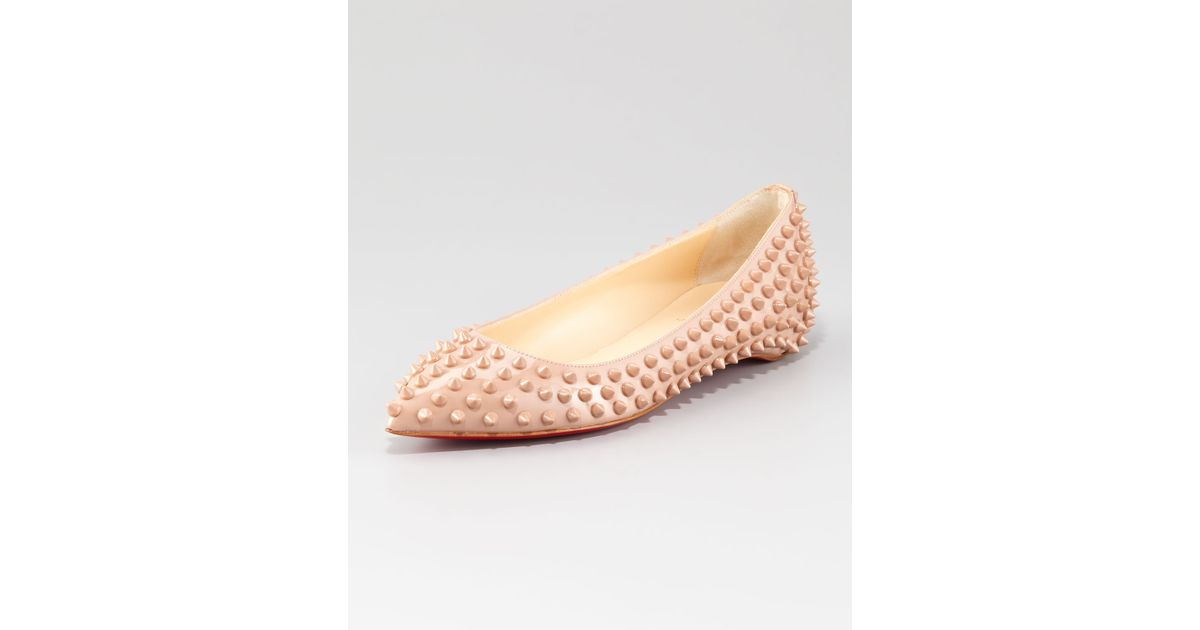 louis louboutin shoes - christian louboutin pointed-toe flats Nude patent leather tonal ...