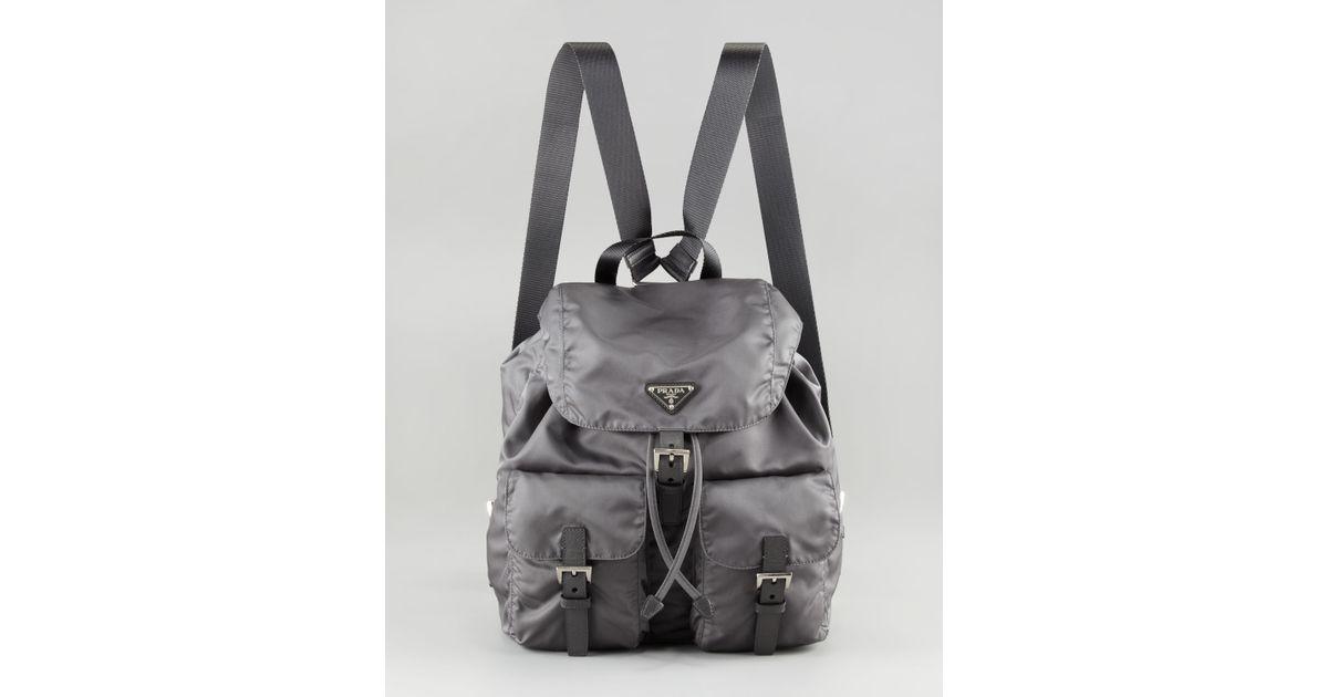 359ed0e99c5 Lyst - Prada Vela Nylon Backpack in Gray