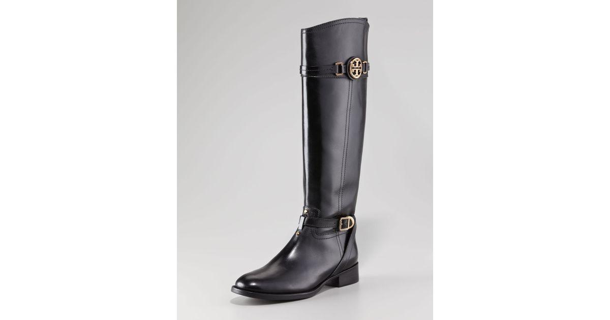 cf06feb5a4d Lyst - Tory Burch Calista Logo Leather Riding Boot Black in Black