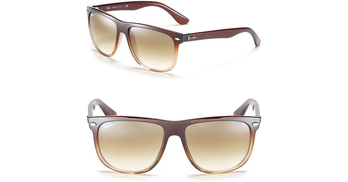 e9efbc5cc2 Lyst - Ray-Ban Flat Top Boyfriend Gradient Sunglasses in Brown