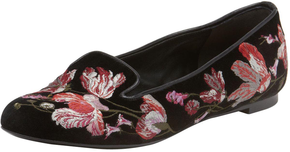 bb1e154fe96 Lyst - Alexander Mcqueen Floralembroidered Smoking Slipper