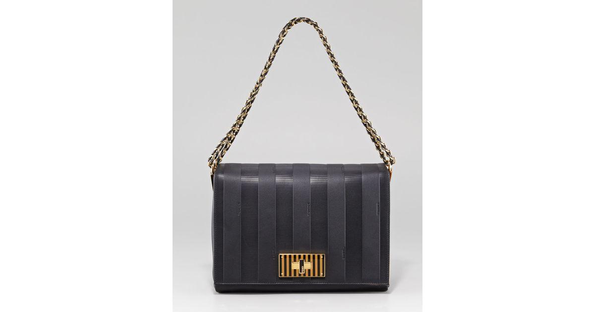 Lyst - Fendi Pequin Tonal Stripe Shoulder Bag in Black ac4fad14eb