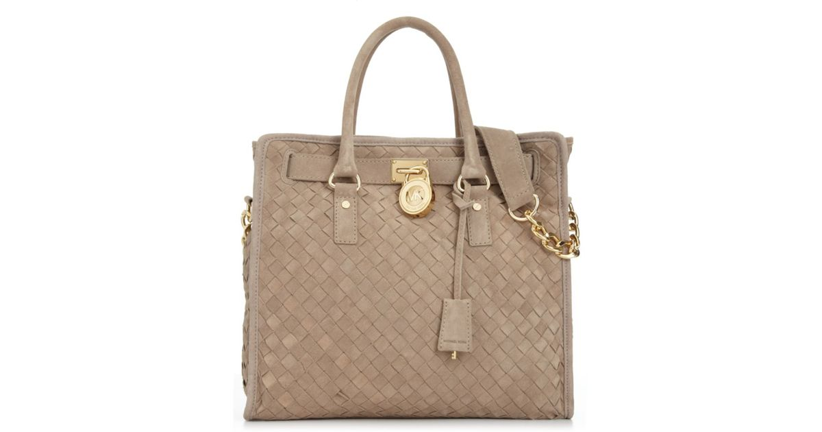 9235695c15a5 ... store lyst michael kors hamilton woven large tote in natural 5a8d5  fbf8f ...
