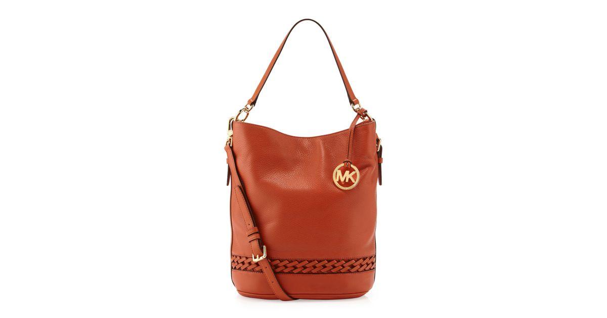 348a2c4ad0f2 Lyst Michael Kors Wovendetailed Leather Bucket Bag Burnt. Michael Kors  Orange Wallet Zip Continental Lyst