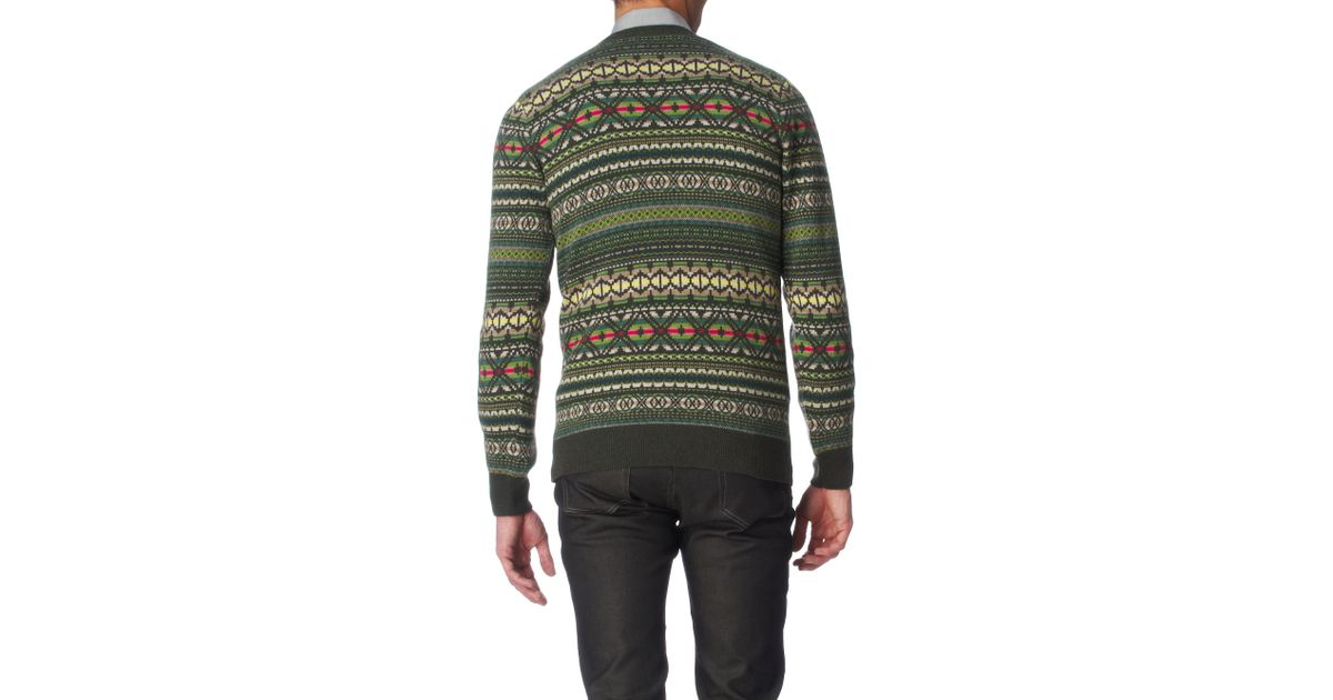 Ps by paul smith Fair Isle Jumper in Green for Men | Lyst