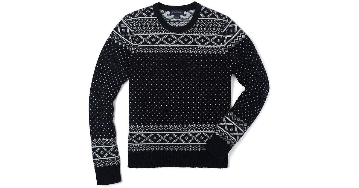 Brooks brothers Lambswool Birdseye Fair Isle Crewneck Sweater in ...