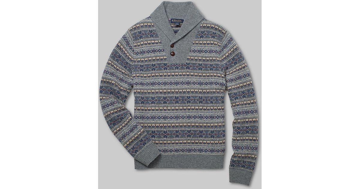 Brooks brothers Lambswool Fair Isle Shawl Collar Sweater in Gray ...