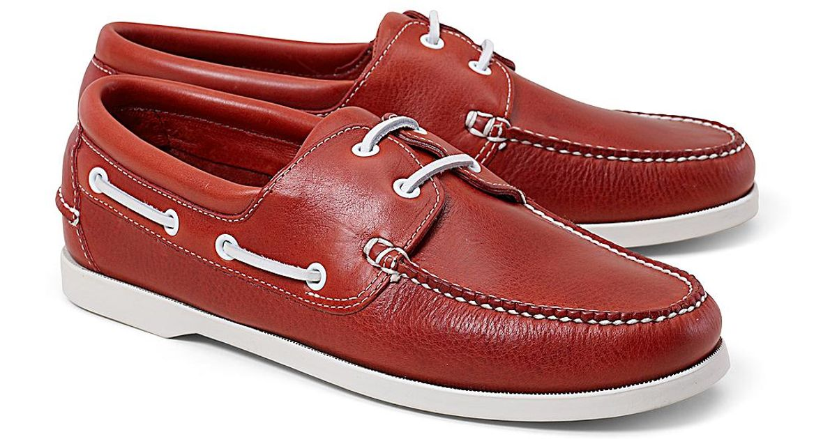 Brooks brothers Leather Boat Shoes in Red for Men | Lyst