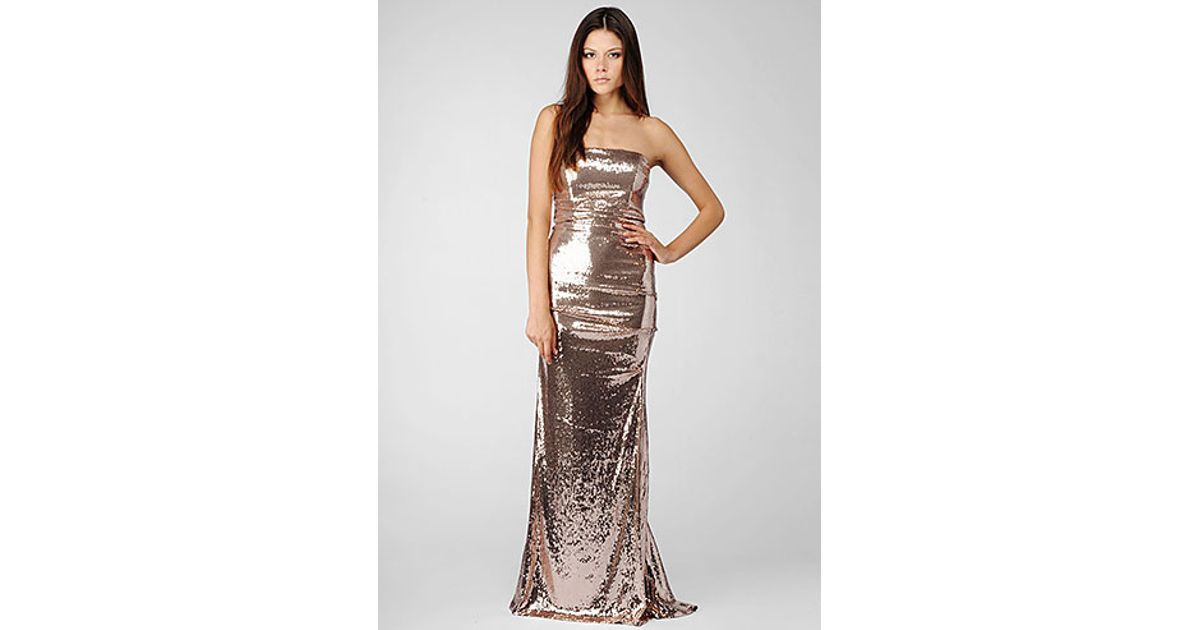 Lyst - Nicole Miller Strapless All Over Sequin Gown in Metallic