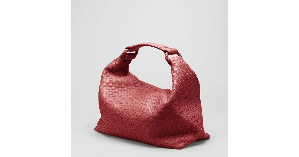 Lyst - Bottega Veneta Shadow Intrecciato Light Calf Sloane Bag in Red f36252095ff74