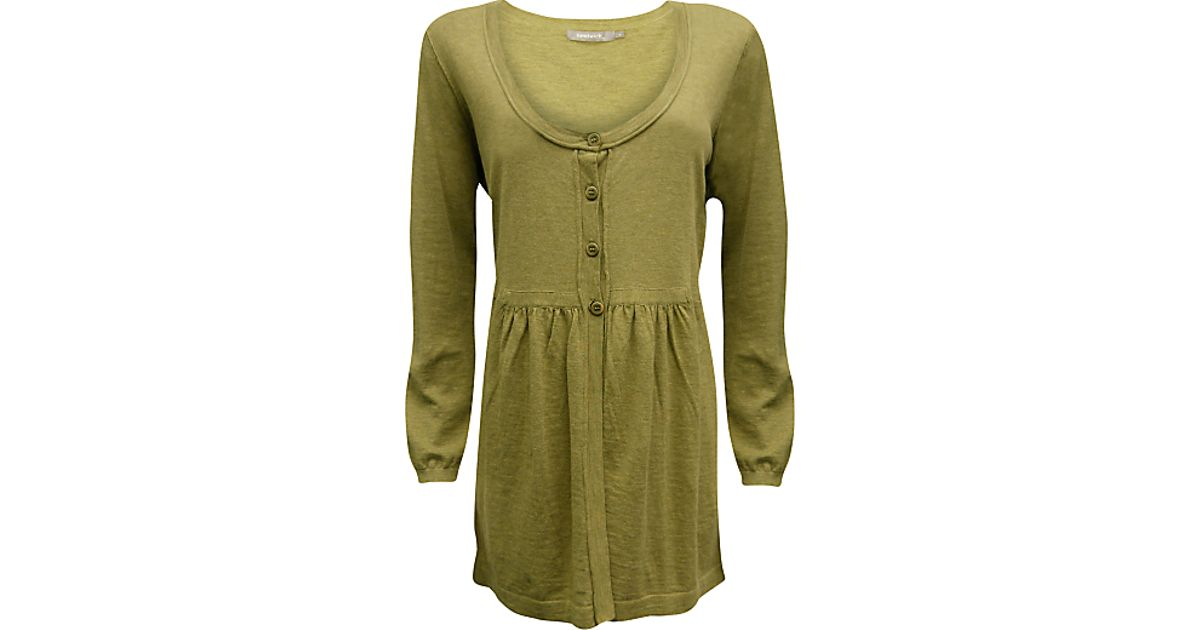 294ad0118b8 Sandwich Sandwich Long Button Front Cardigan Moss Green in Green - Lyst