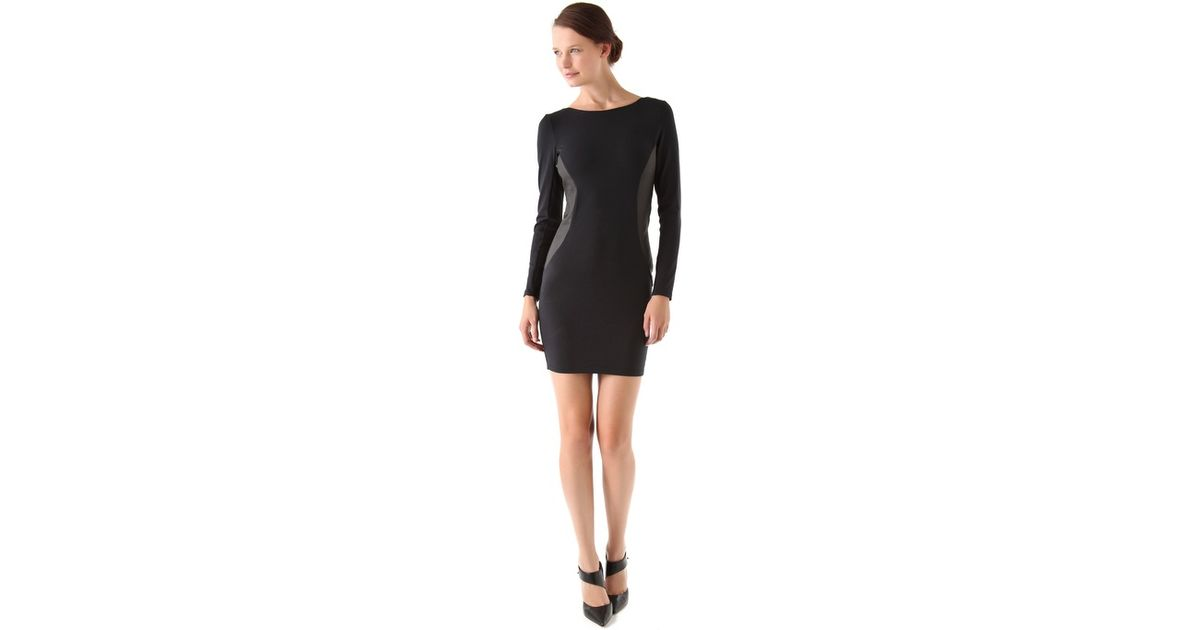 Lyst David Lerner Dress With Ribbed Panels In Black