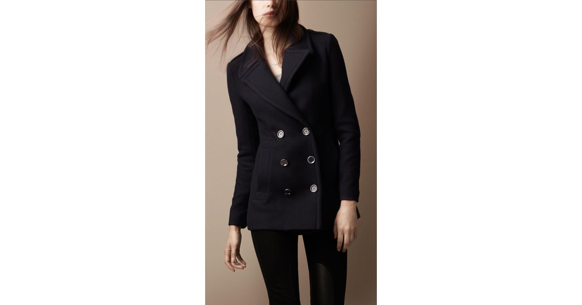 222442b5a505 Lyst - Burberry Brit Classic Wool Pea Coat in Blue