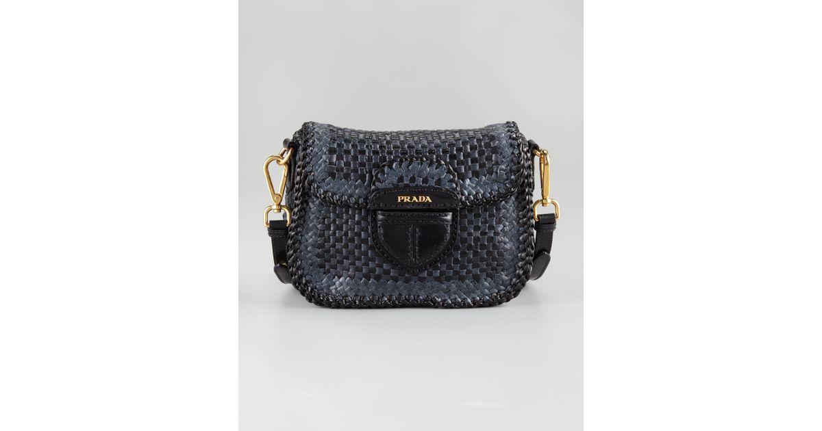 a8c3b7890824 Lyst - Prada Madras Crossbody Bag in Blue