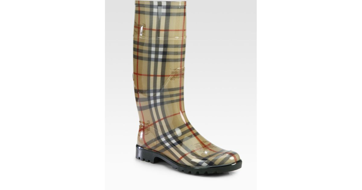 0f353f1aca2 Lyst - Burberry Lisson Check Rubber Rain Boots in Natural
