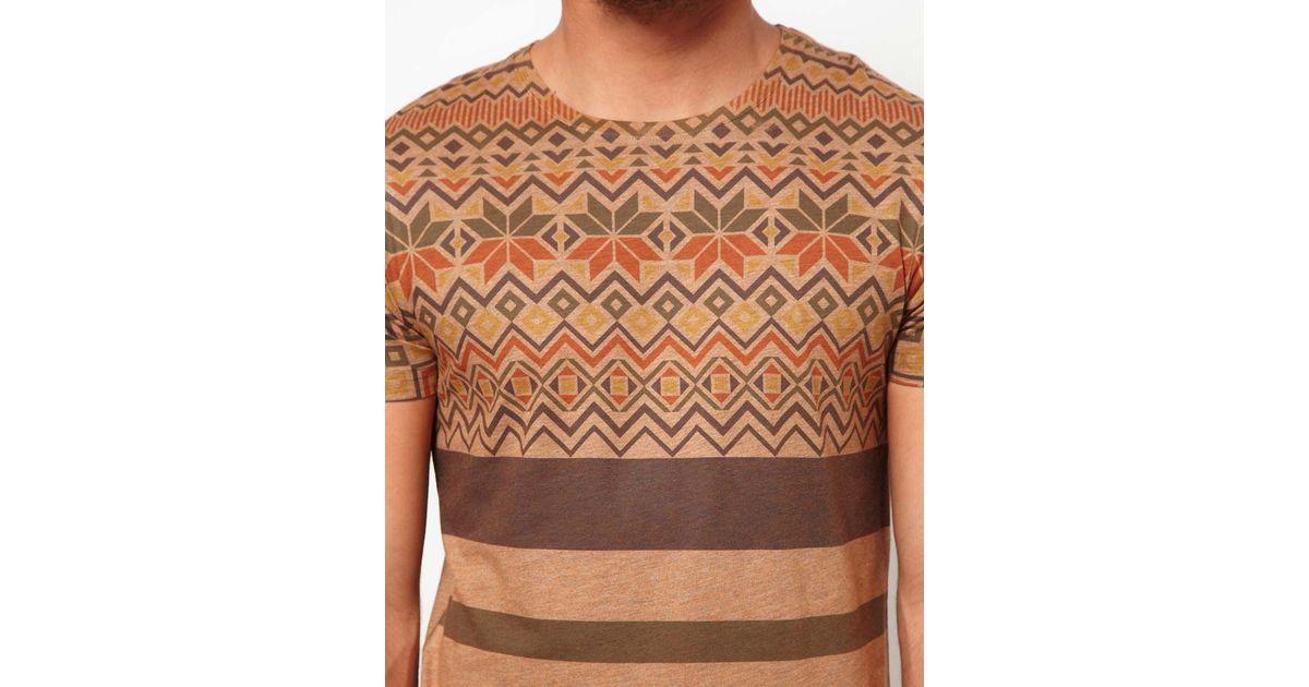 Asos T-Shirt with Fairisle Stripe Print in Brown for Men | Lyst