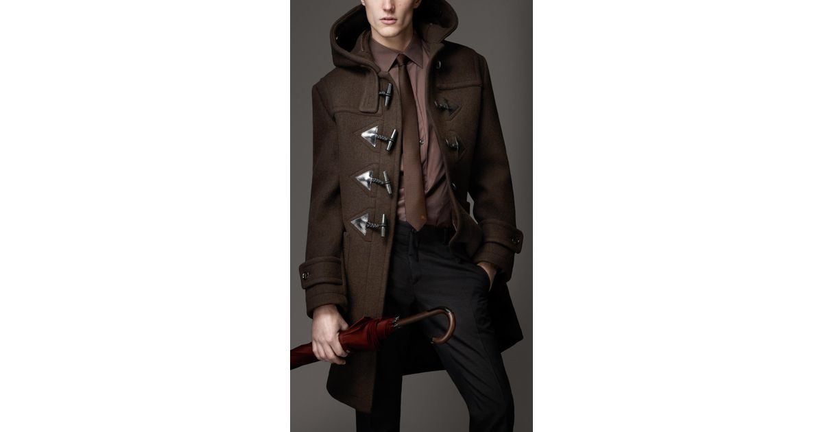 Burberry Heritage Wool Duffle Coat in Brown for Men | Lyst